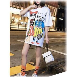 猫オーバーサイズTシャツ★カットソー♡ハチワレ黒白サバトラ