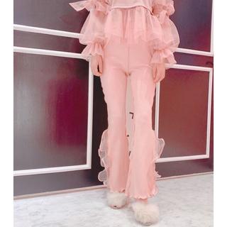 lilLilly - リブフリルパンツ(pink)