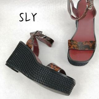 グラスライン(Glass Line)のSLY スライ 厚底サンダル ストラップ L 25.0cm ブラウン ブラック(サンダル)