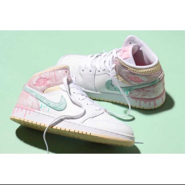 "NIKE(ナイキ)のJORDAN 1 MID ""PAINT DRIP"" 23,5cm ジョーダン レディースの靴/シューズ(スニーカー)の商品写真"