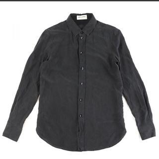 サンローラン(Saint Laurent)のサンローランパリ シルク100% 長袖シャツ  黒 34 ケリングタグ(Tシャツ/カットソー(七分/長袖))