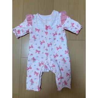 ニシキベビー(Nishiki Baby)のスウィートガール カバーオール 60 リボン 裏起毛 ピンク(カバーオール)