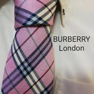 BURBERRY - 大人気★BURBERRYバーバリー★光沢ピンクチェック柄高級シルクネクタイ★特価
