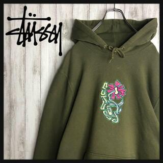 STUSSY - 【即完売モデル】 STUSSY 超希少カラー 花柄 刺繍ロゴ 希少 パーカー