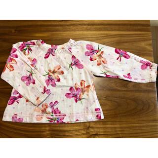 ハッカキッズ(hakka kids)のハッカキッズ カラスミプリント 長袖 プルオーバー ブラウス 花柄 120(ブラウス)