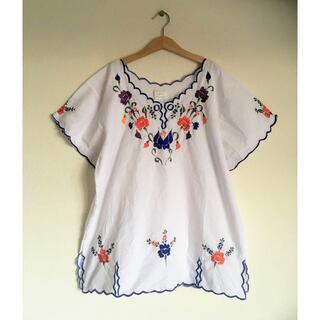 Santa Monica - ヴィンテージメキシカン刺繍シャツ/メキシコ/エスニック/民芸/ジャンティーク