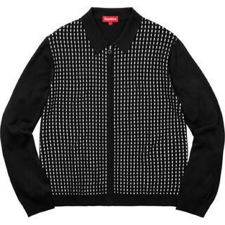 Supreme - Supreme Dashes zip up knit polo black