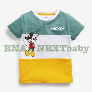 NEXT - ●ブルー/イエロー ミッキー カラーブロック Tシャツ
