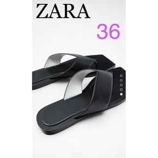 ZARA - ZARA ザラ スクエアトゥ仕様ミニマルフラットサンダル 36