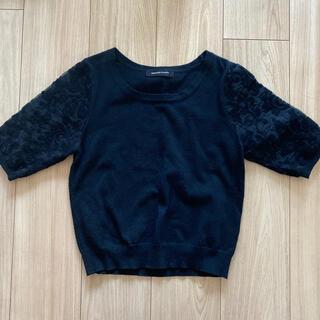 クイーンズコート(QUEENS COURT)の【美品】上品 ブラック トップス(Tシャツ(半袖/袖なし))