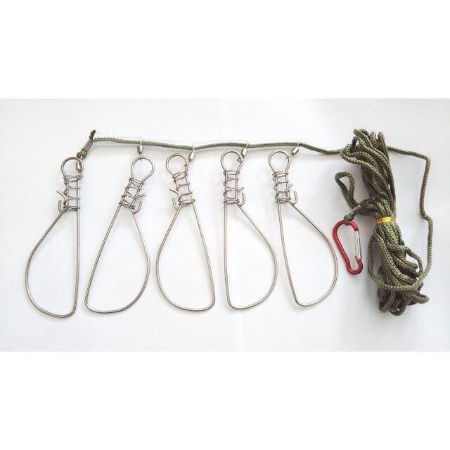 ストリンガーロープ 5個仕様 ステンレス製 ロープ長4.5m カラビナ付き スポーツ/アウトドアのフィッシング(その他)の商品写真