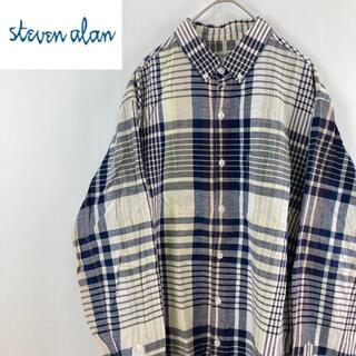 スティーブンアラン(steven alan)のSteven Alan スティーブンアラン長袖チェックボタンダウンシャツサイズL(シャツ)