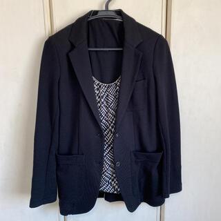 コムサイズム(COMME CA ISM)のコムサイズム3点 ブラックジャケット ブラウス キャミソール付き(テーラードジャケット)