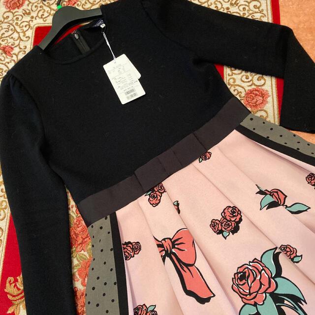 M'S GRACY(エムズグレイシー)のエムズグレーシー❤︎WEB掲載 即完売 りぼん薔薇プリントワンピース42 レディースのワンピース(ひざ丈ワンピース)の商品写真