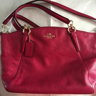 COACH - 美品 送込 コーチ ショルダーバッグ 濃いピンク色