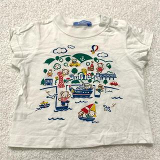 ファミリア(familiar)のTシャツ 半袖 白 神戸 レトロ レア 前後プリント おはなしTシャツ 男 女(Tシャツ)