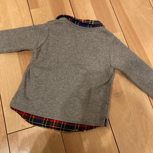 mikihouse(ミキハウス)のミキハウス 重ね着風 刺繍 長袖 トップス 90 キッズ/ベビー/マタニティのキッズ服男の子用(90cm~)(Tシャツ/カットソー)の商品写真