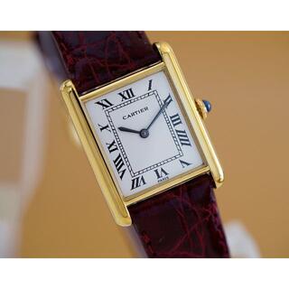 Cartier - 美品 カルティエ マスト タンク ホワイト ローマン 手巻き LM Cartie