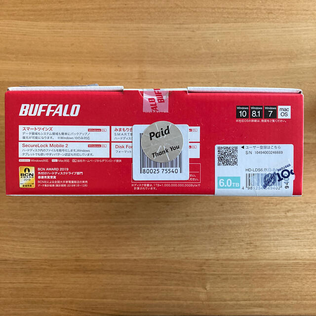 Buffalo(バッファロー)のBUFFALO 外付けハードディスク 6TB 新品未使用・未開封品 スマホ/家電/カメラのテレビ/映像機器(テレビ)の商品写真