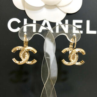 CHANEL - 正規品 シャネル ピアス フープ ココマーク ゴールド 2カラー ストーン 金