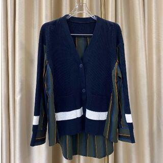 sacai - sacai シャツ 継接ぎ ニットセーター