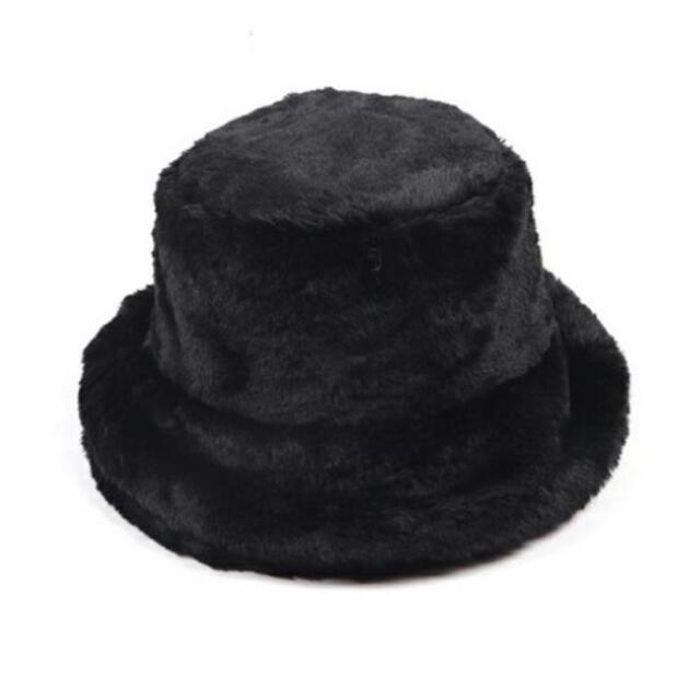 【セール】バケットハット ファー ハット ふわふわ ボア 秋冬 トレンド【黒色】 レディースの帽子(ハット)の商品写真