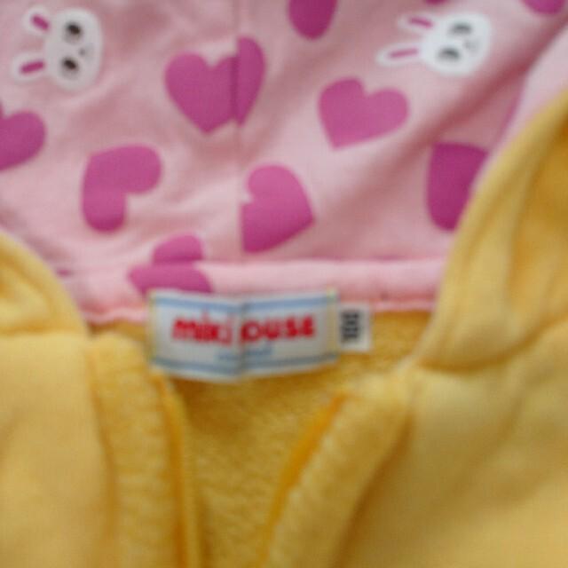 mikihouse(ミキハウス)の【ミキハウス】耳付きパーカー うさこちゃん 100 キッズ/ベビー/マタニティのキッズ服女の子用(90cm~)(ジャケット/上着)の商品写真