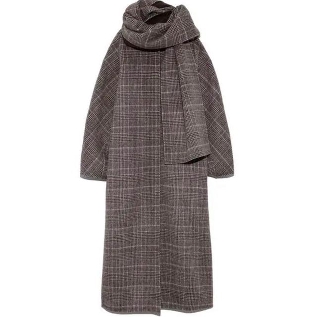 FRAY I.D(フレイアイディー)のフレイアイディー  マフラー付きダブルフェイスコート レディースのジャケット/アウター(ロングコート)の商品写真