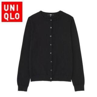 UNIQLO - 新品★UNIQLO UVカットクルーネックカーディガン ブラック M