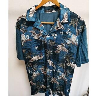 ザラ(ZARA)のシャツ ポロシャツ 青 緑 ターコイズ 柄 ツルツル ZARA ザラ サテン(ポロシャツ)