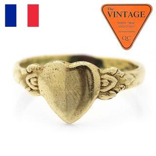 フランスヴィンテージハート甲丸リング18.5号ゴールド色ユニセックスアンティーク(リング(指輪))