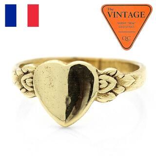フランス ヴィンテージ ハート甲丸リング18号ゴールド色ユニセックスアンティーク(リング(指輪))