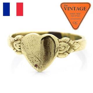 フランス ヴィンテージ 18号ハート甲丸ユニセックスリングゴールド色アンティーク(リング(指輪))