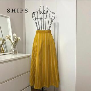 シップス(SHIPS)の【美品】シップス ストライプフレアスカート(ひざ丈スカート)