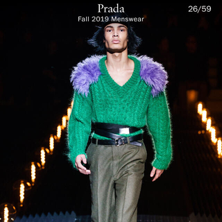 PRADA - プラダ2019年コレクショングリーン×パープルニットサイズ44