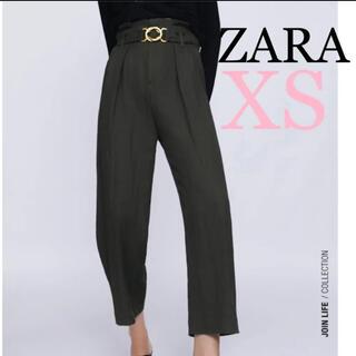 ZARA - ZARA ベルトダーツパンツ ハイライズパンツ