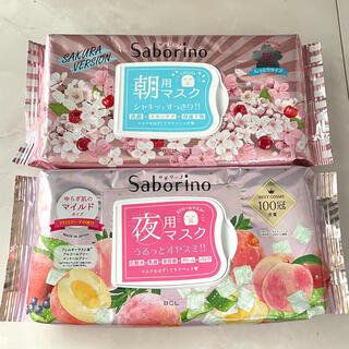 サボリーノ 夜用マスク アロエピーチの香り 朝用マスク 桜の香り 2点 (パック/フェイスマスク)