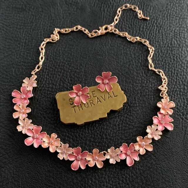 90'sUSA!スプリングピンク!ネックレス&ピアスセット レディースのアクセサリー(ネックレス)の商品写真