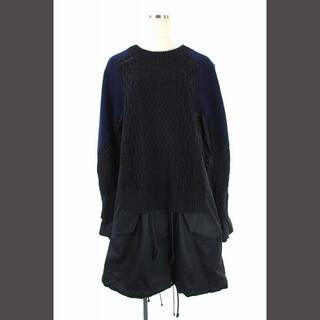 sacai - サカイ sacai 16AW ニットドッキングデザインモッズコート 2 黒 紺
