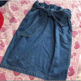 ページボーイ(PAGEBOY)のギャザースカート デニム スカート PAGEBOY(ひざ丈スカート)