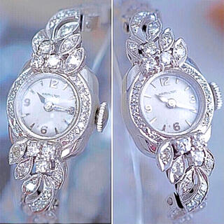 Hamilton - 【再出品】ハミルトン K14無垢 ダイヤ44石 腕時計 美品