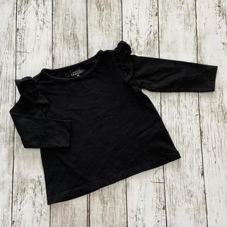 ニシマツヤ(西松屋)の肩フリル黒Tシャツ 80(Tシャツ)
