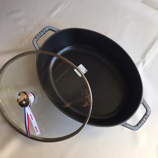 STAUB - 【新品】  ストウブ ピコ・ココット オーバル 29cm  グレー ガラス蓋