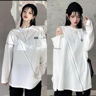 ~3L 2way星柄チャーム付きZIPTシャツ 白(Tシャツ(長袖/七分))