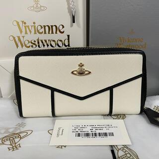 Vivienne Westwood - Vivienne Westwood 長財布 白 フチ黒 財布ラウンドファスナー
