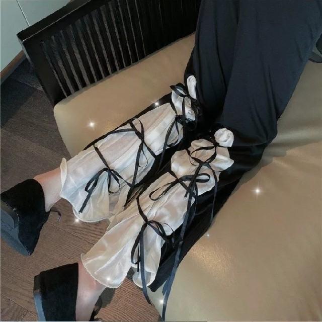 レディース 新品未着用 フリルリボン パンツ ズボン フリーサイズ 春夏秋冬 N レディースのパンツ(カジュアルパンツ)の商品写真