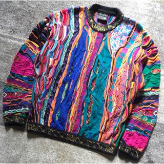 COOGI - 美しいカラー配色 芸術 COOGI クージー ウール 3D ニット セーター S