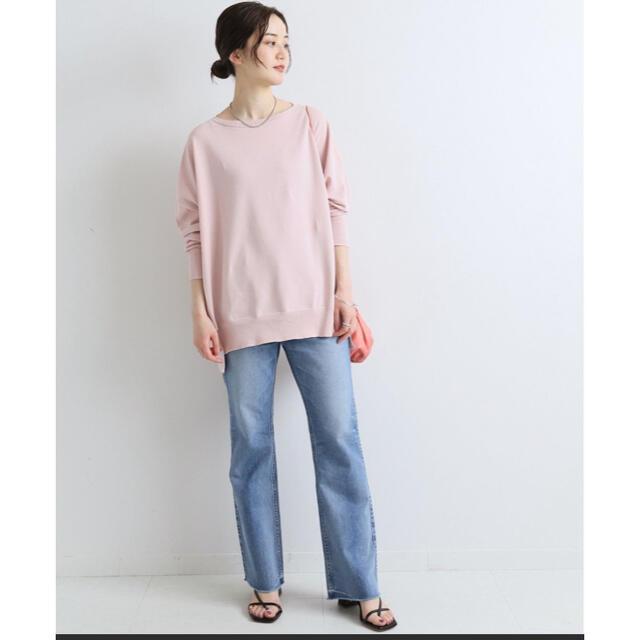 IENA(イエナ)のiena  コットンストレッチneoワイド長袖プルオーバー ピンク レディースのトップス(ニット/セーター)の商品写真