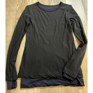 ワイズ(Y's)のY'sワイズヨウジヤマモト紺×黒レイヤードカットソーサイズ2(シャツ/ブラウス(長袖/七分))
