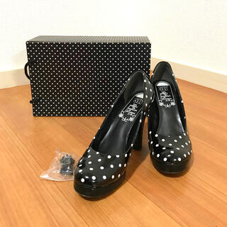 スライ(SLY)の美品!スライ SLY ドットデザイン チャンキーヒール 専用靴箱セット(ハイヒール/パンプス)